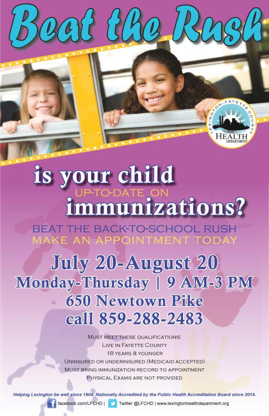 July back to school immunizations