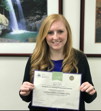 March 7 Mary Beth Gilles receives certification